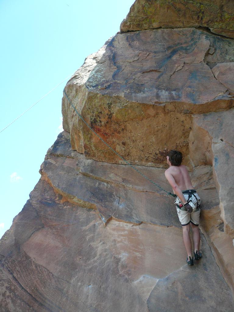 Derek on a 5.9 overhang at Rotary Park.