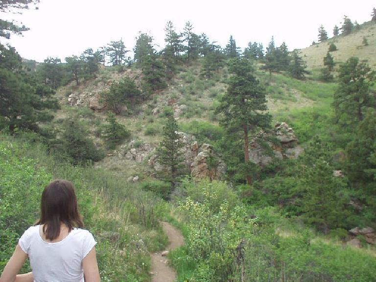 Kathrin on the Soderberg trail in the Horsetooth Mountain Park of Fort Collins, CO, leading to the Horsetooth Falls.