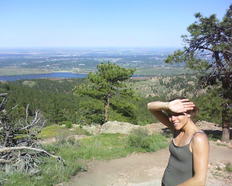 Leah with the Horsetooth Reservoir and Fort Collins in the background.