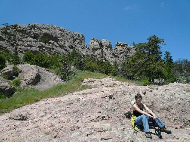 Sarah below the Horsetooth Rock, an icon of Fort Collins.
