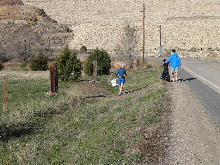 Picking up trash near the start of the Horsetooth Half Marathon course.