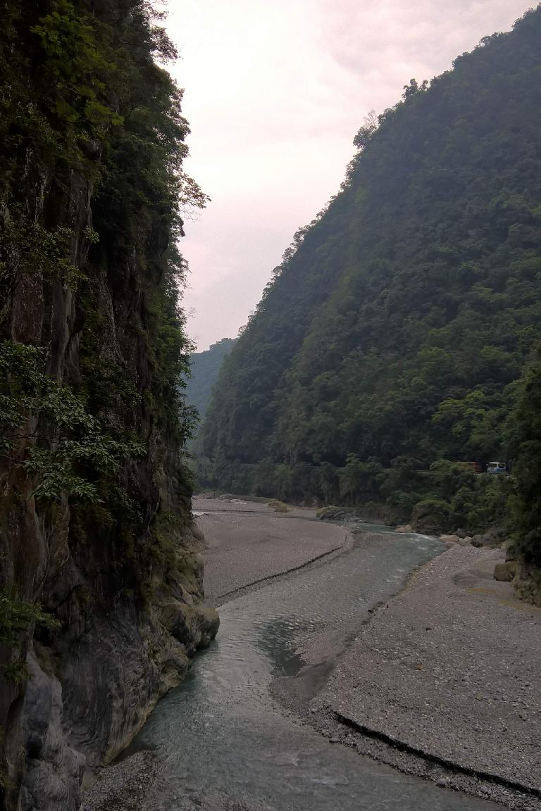 The Liwu River as seen from the Changchung Bridge in north Hualien County, Taiwan.