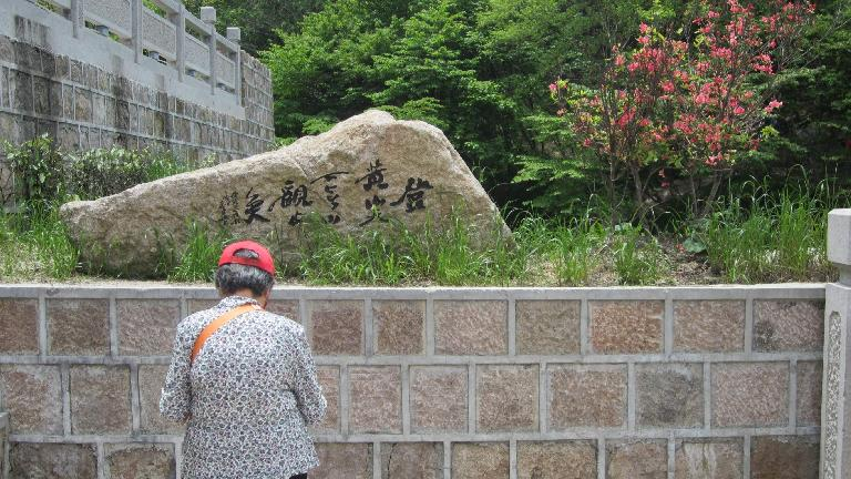 Older woman in front of a stone rock.