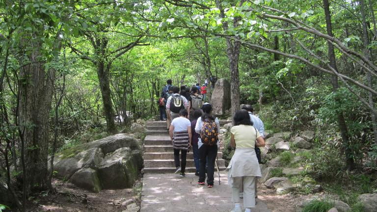 Following tour group participants into the Huangshan Mountains.