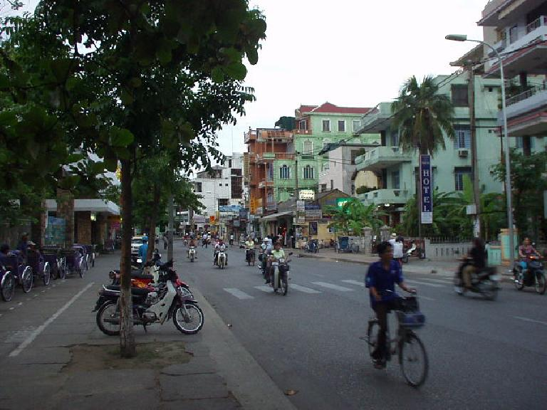 The main strip by the Perfume River in Hue.