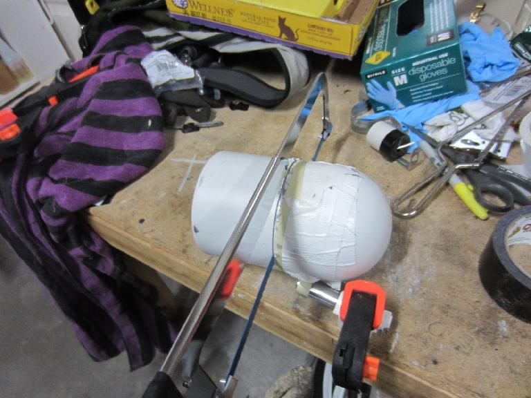 "... then cut it in half before installing a 10-watt halogen lamp that was approximately 4.5"" in diameter. (August 22, 2012)"