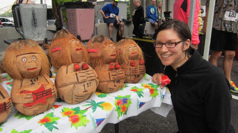 Sarah with the carved coconut awards.