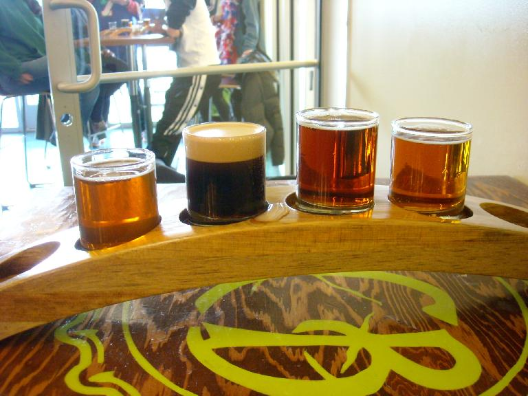 Taster tray at the Fort Collins Brewery.