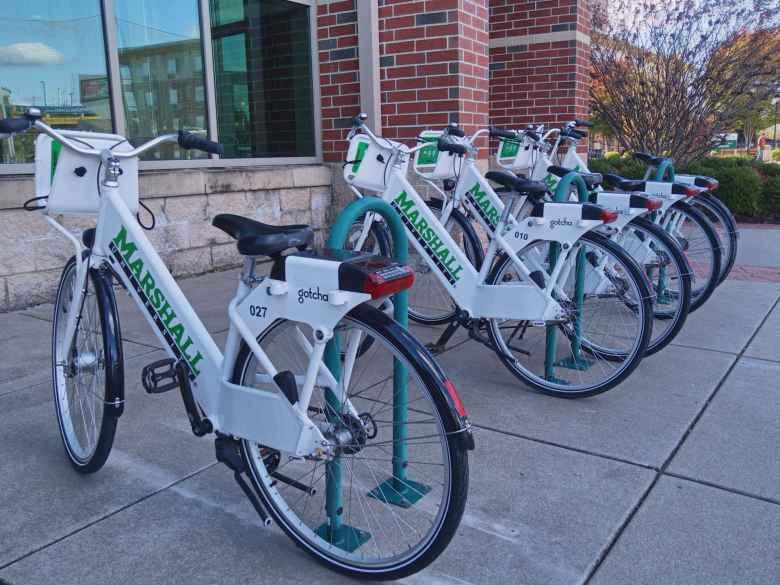 Marshall University city share bicycles.