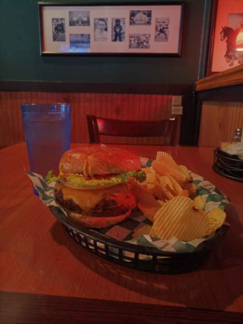 A Big Fat Patty burger inside Fat Patty's.