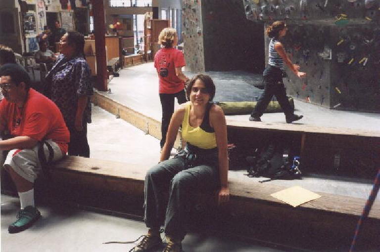 Warm-up #1: At the Pacific Edge indoor climbing gym in Santa Cruz with Kat.