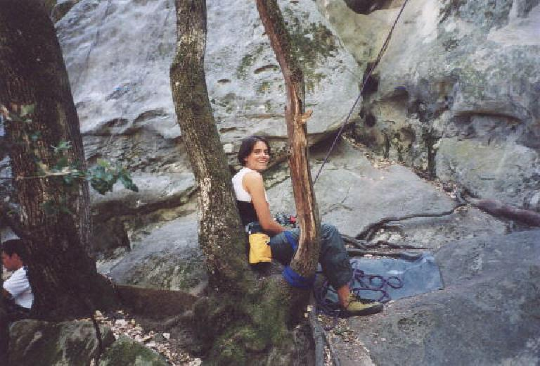 Kat belaying below.