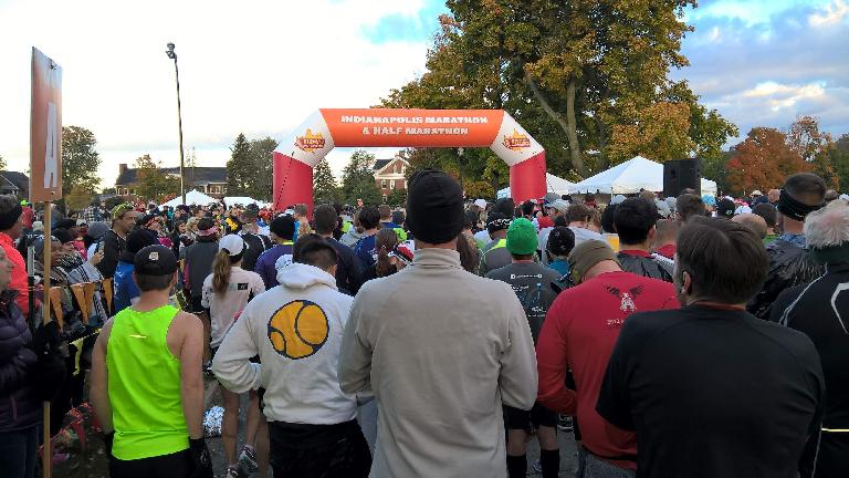 Wave A at the start of the 2015 Indianapolis Marathon.