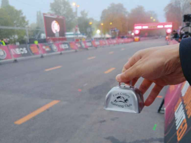 I brought a Fort Collins Running Club cowbell to cheer on Kipchoge.