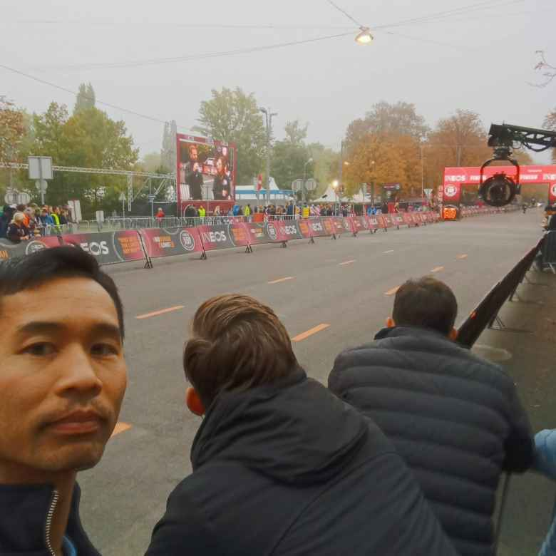 Where I was standing to cheer on Eliud Kipchoge during the INEOS 1:59 Challenge.