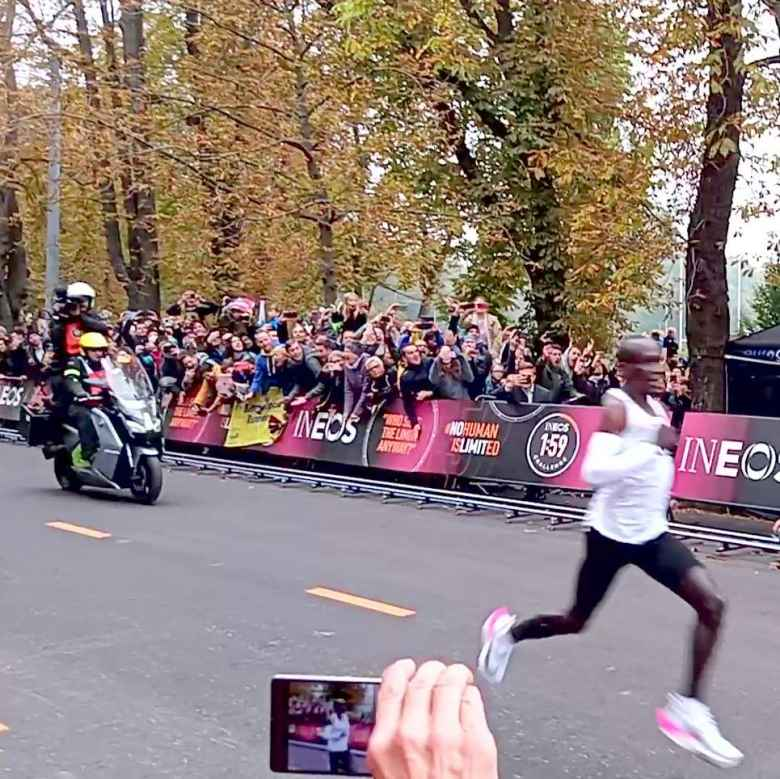 Eliud Kipchoge sprinting in the final 50 meters of the INEOS 1:59 Challenge.