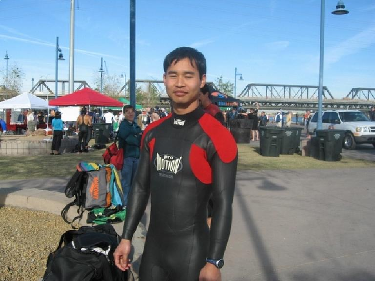 Felix Wong in his Pro-Motion wetsuit for the first time in a year. Photo: Jose Cortez.