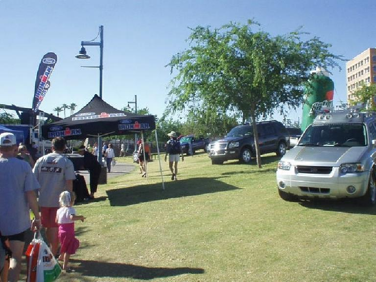 Ford is the major sponsor of Ironman events, and it used the venue to showcase its SUVs well.