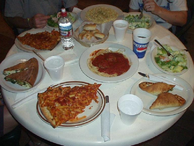 We ate at Lorenzo's Pasta & Pizza in downtown Tempe, twice!  The $2.75 piece of ziti pizza I ordered was huge enough to constitute an entire meal. (April 8, 2006)