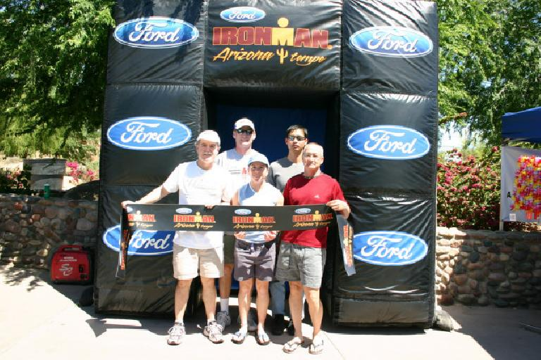 Phil, Bob, Sharon, Felix, and JC with the Ford Ironman banner. (April 7, 2006)