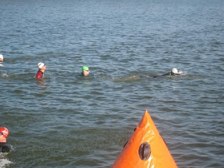 Felix, Bob, and Phil commence open water practice. Photo: Jose Cortez.