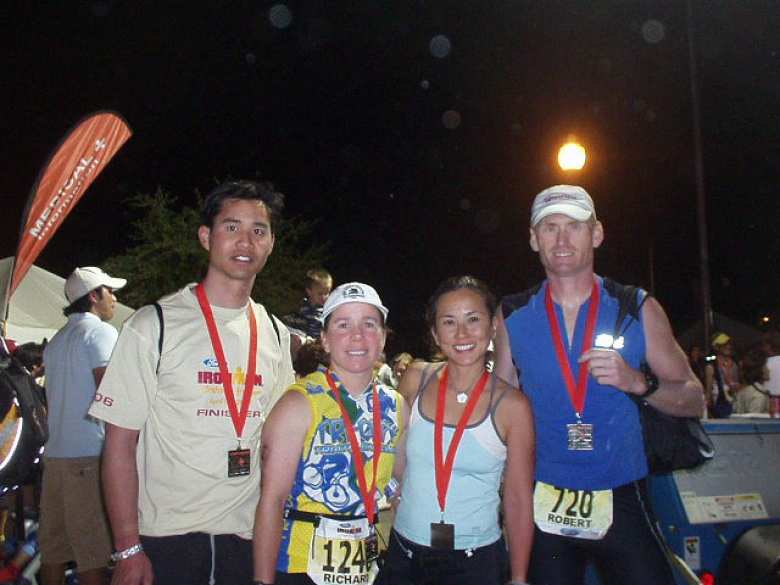 Felix, Sharon, Bic, and Bob after successfully finishing the race.  Congrats to all!