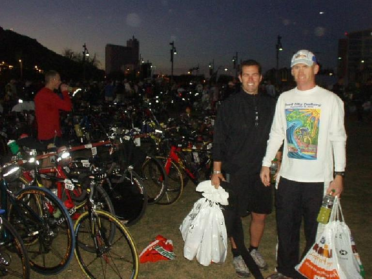 Race day morning!  Josh and Bob get ready.