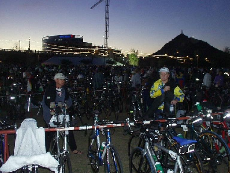 J.C. and Phil on race day morning.  Since athletes' numbers were by city in alphabetical order, all Fremonters (and people formerly of Fremont, i.e. me) got to rack their bikes by each other.