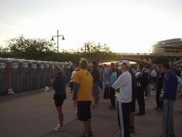 Waiting in line for the portapotties.