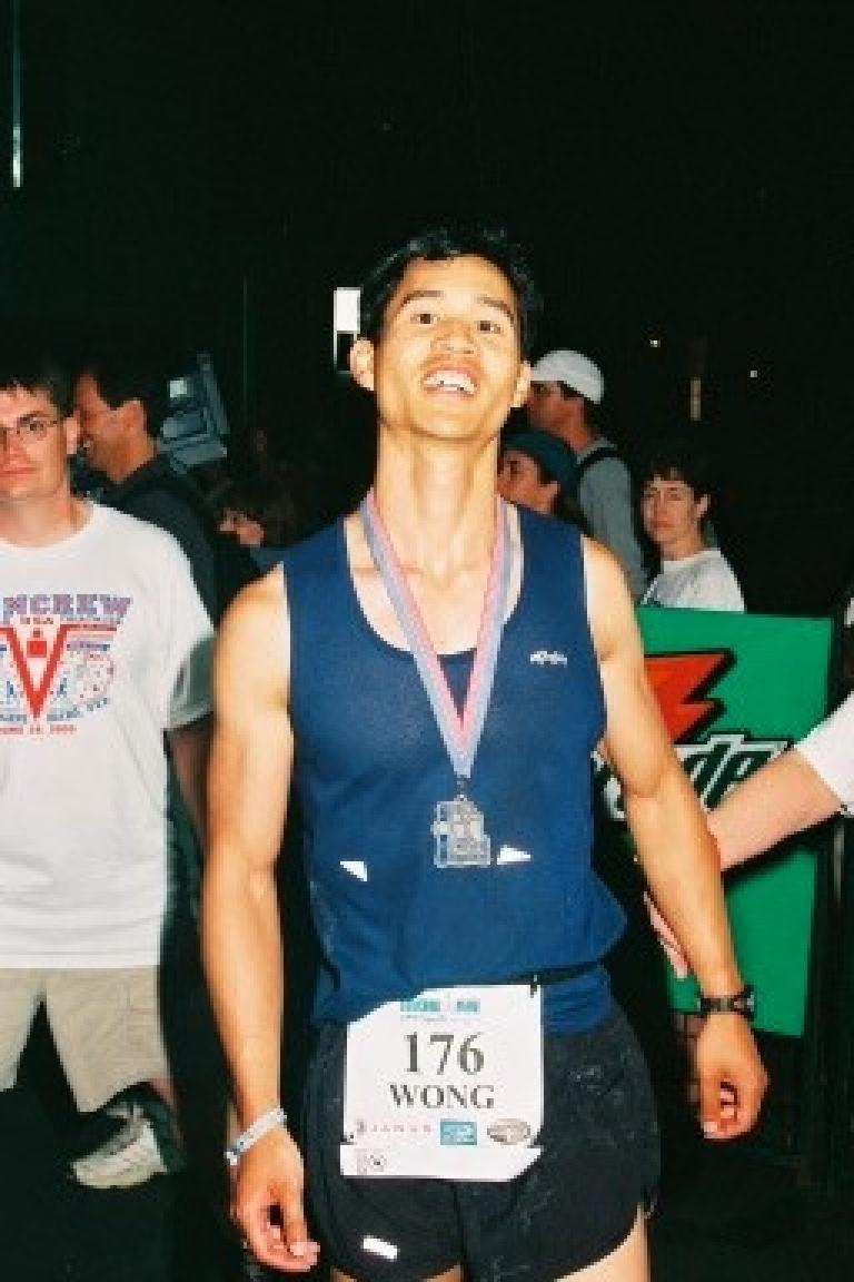 As daylight expired, Felix Wong came in looking gaunt, tired... but very proud and happy. Photo: Action Sports International. (June 29, 2003)