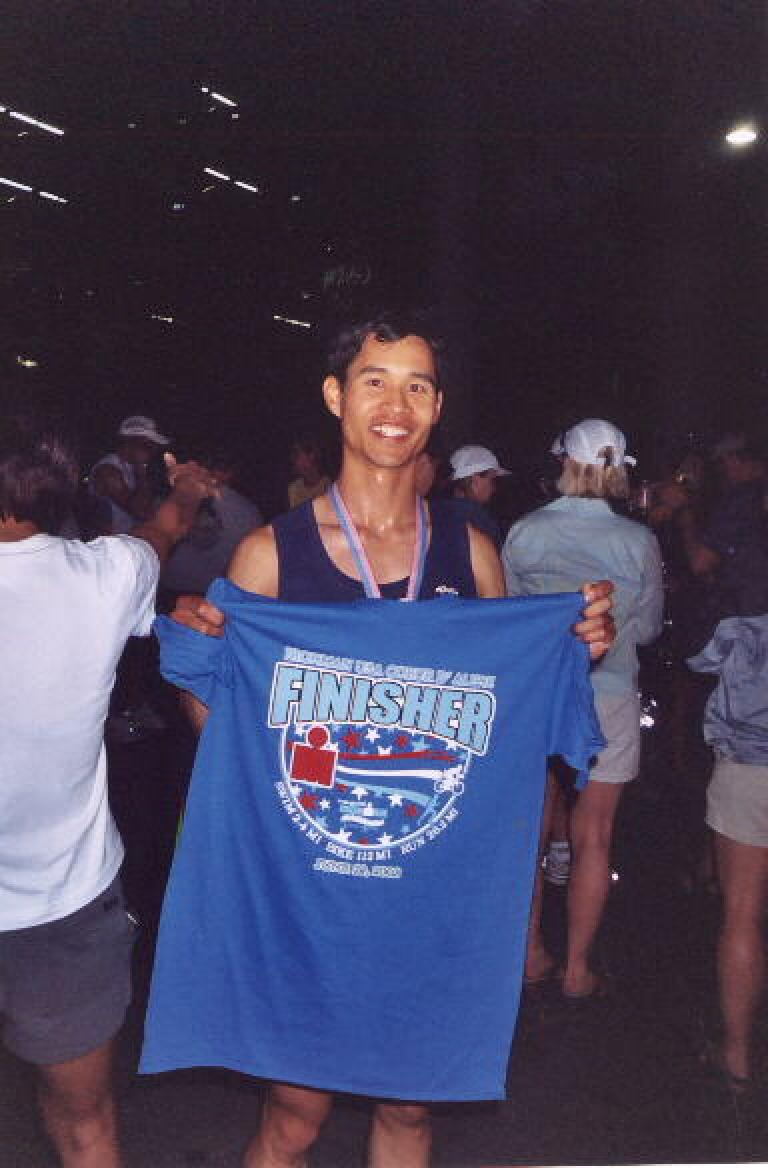 Moments later, with finisher t-shirt. Photo: Deborah Silva. (June 29, 2003)