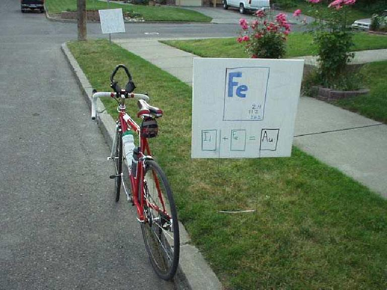 """While scouting the run course I passed by this sign: Fe = Iron.  """"But what about aluminum?"""" wonders Canny."""
