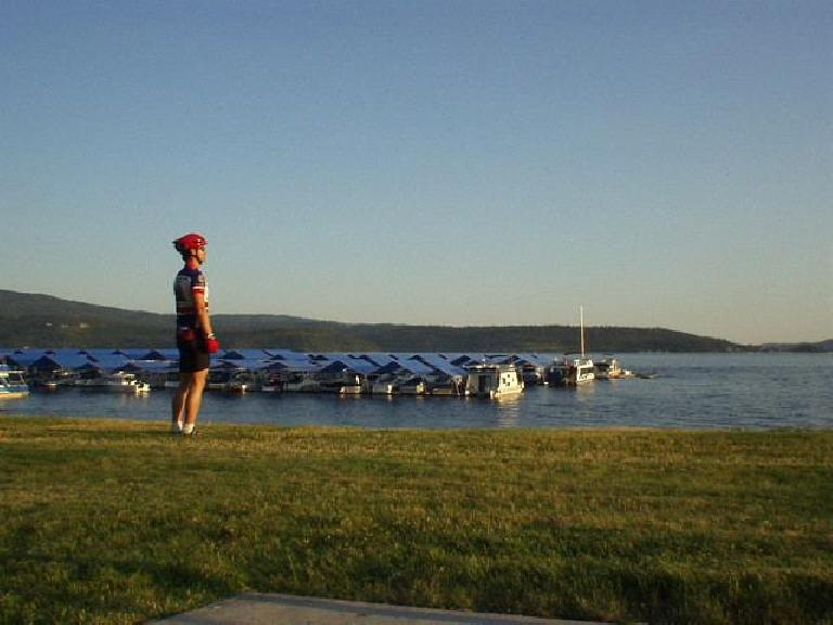 Felix Wong admiring Lake Coeur d'alene along the bike course, reflecting on how wonderful it would be to live out here.