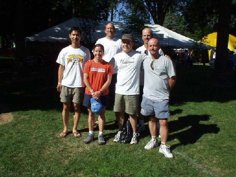 There was a mandatory athlete meeting in the afternoon and afterwards we took a picture of all of us in the Tri-City Tri Club who were doing the race.  From left to right: Felix, Sharon, Russ, Phil, Steve, and Tom. (June 28, 2003)