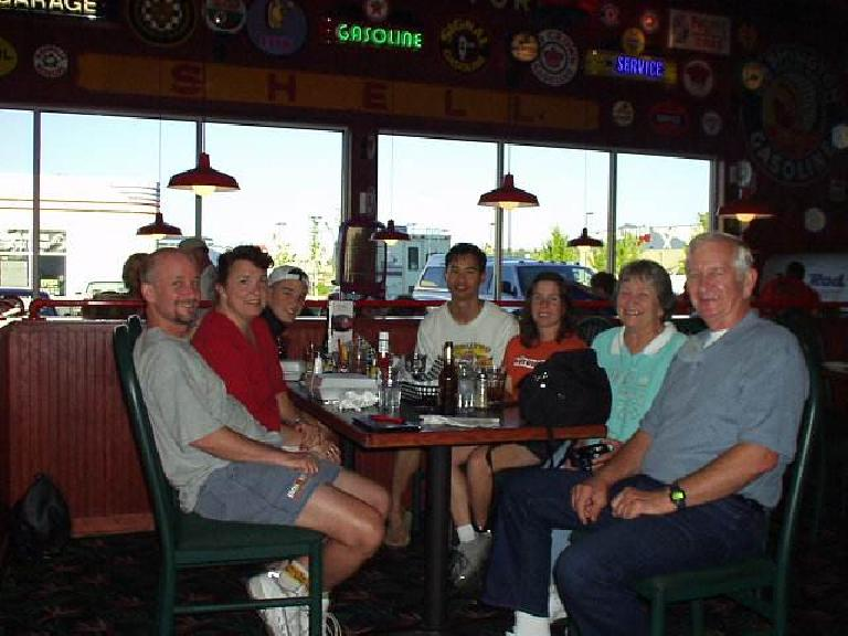Rounding out the table was Tom, Laurie, their son Steven, Felix, Sharon, Grandma, and Gramps. (June 28, 2003)