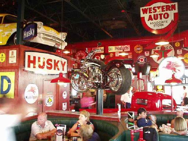 Auto memorabilia galore with hot rods and even motorcycles all over the shop... er, restaurant.  This is a must-see place for an auto enthusiast in the inland northwest! (June 28, 2003)