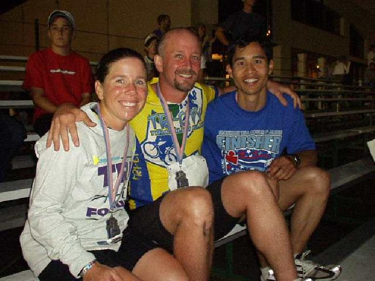 We did it!!  Ironman Sharon, Tom, and Felix Wong together after the race. (June 29, 2003)