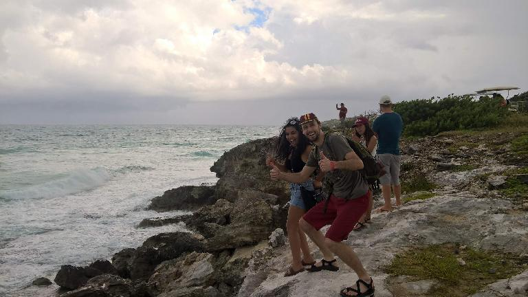 Carolina, Alberto François, Yesenia, Julian Ganton, coast, Isla Mujeres, thumbs up