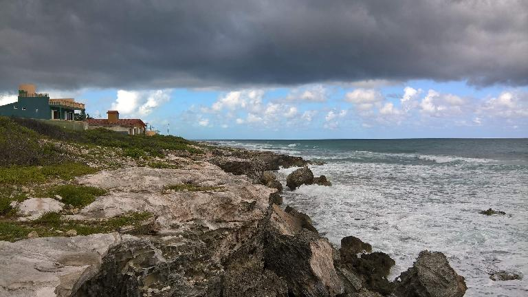 dark clouds, house, coast, Isla Mujeres