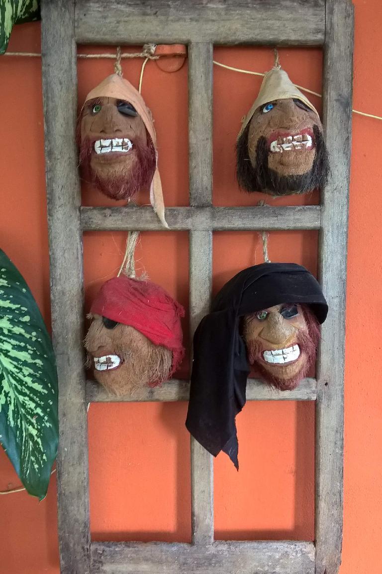 coconut masks, Bahama Mama restaurant, Isla Mujeres