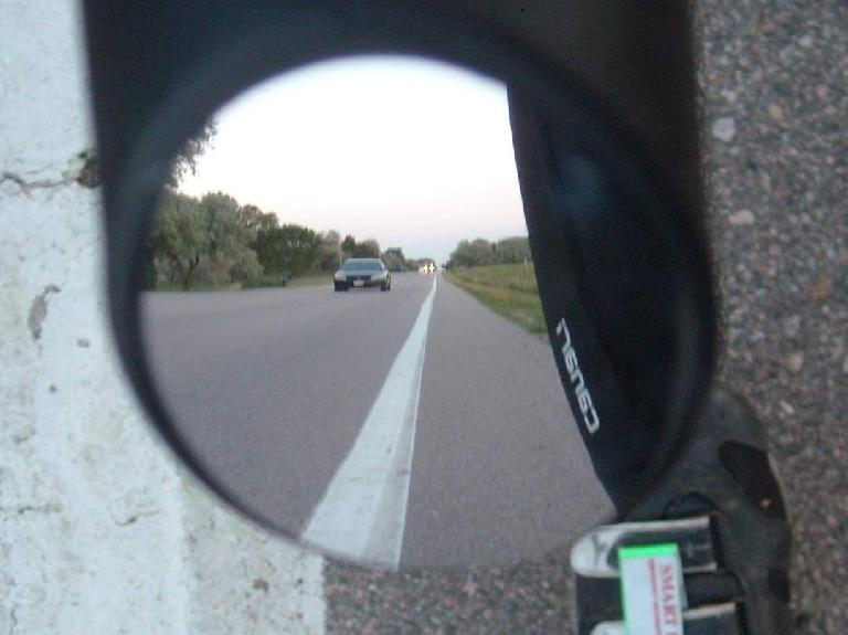 The actual view in the convex glass of the Italian Road Bike Mirror.