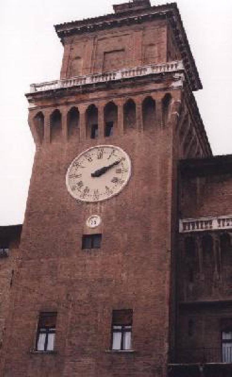 Clock tower in Ferrara. (October 25, 1999)