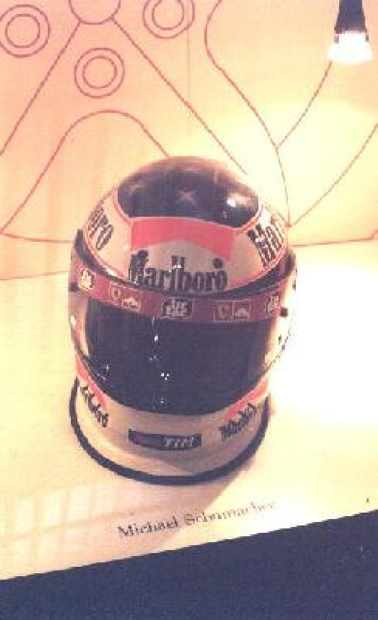 Michael Schumacher's helmet. (October 29, 1999)