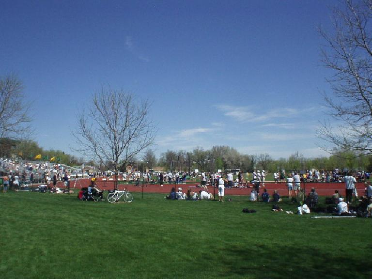 There were many people in T-shirts and shorts strewn out on the grass and the bleachers at the Jack Christiansen track at Colorado State University.
