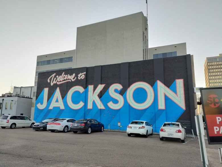 """Welcome to Jackson"" mural in downtown Jackson."