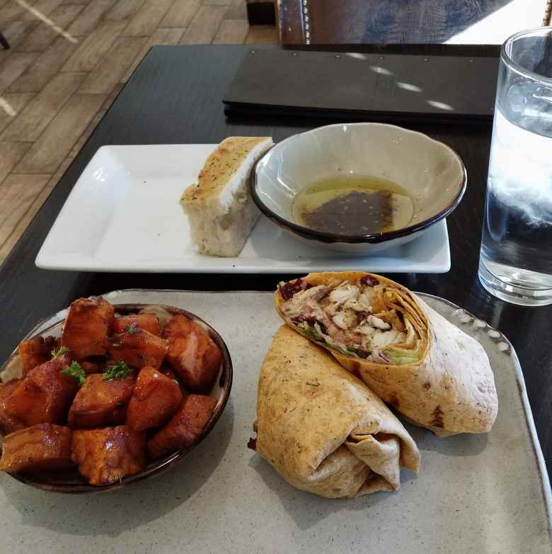 Sweet potatoes, blacked redfish wrap, and bread at the excellent Manship Restaurant in Jackson, Mississippi.