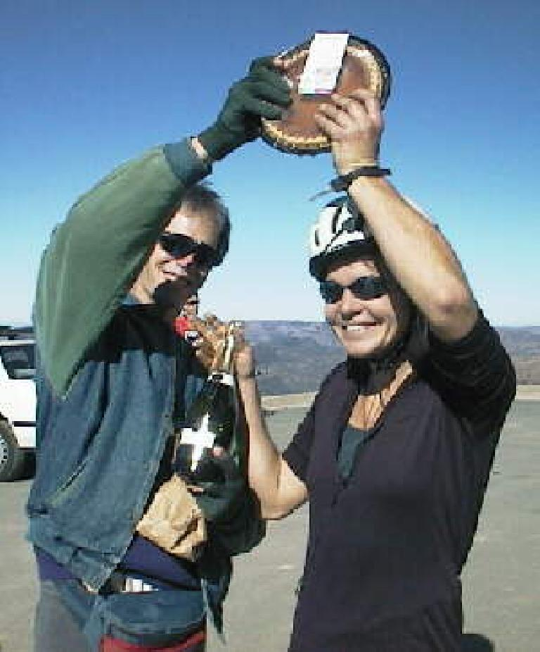 Eric Albrecht, Cornelia Fletcher, winners of 1998 Low-Key Hillclimbs series, celebrating