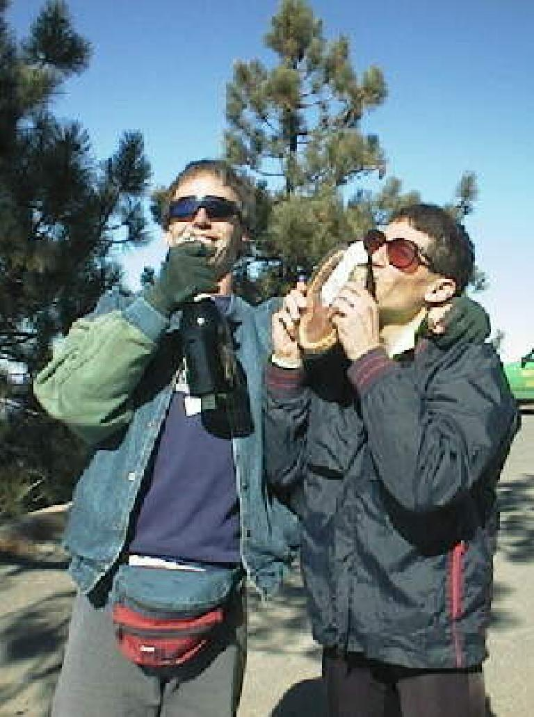 Cornelia Fletcher, Eric Albrecht, winners of 1998 Low-Key Hillclimbs series, kissing trophies