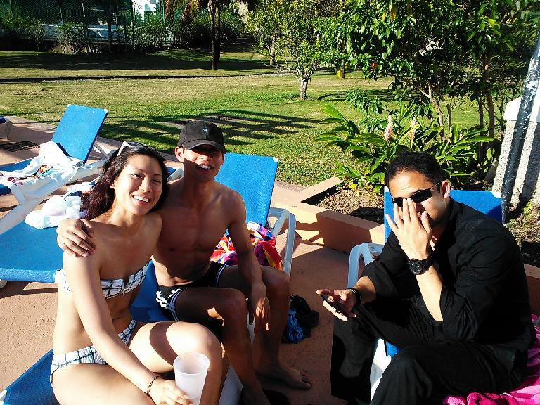 Jenn, Felix Wong and Paris at the pool. (February 15, 2013)