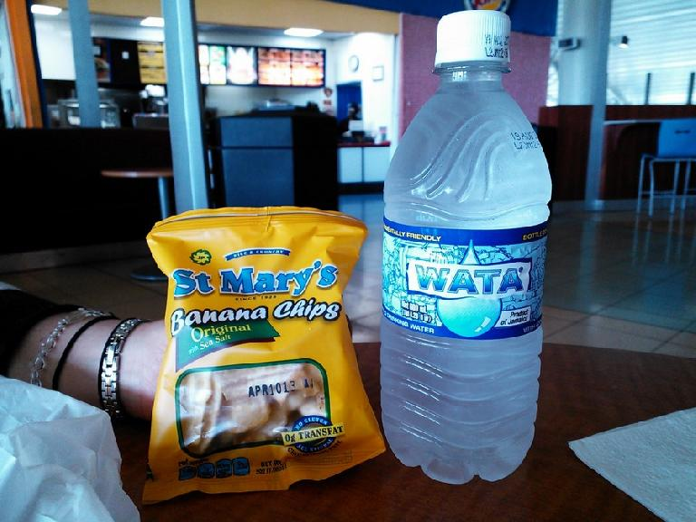 "St. Marty's Banana Chips and Wata (water). Leanne knows the Johnson family who makes the banana chips and as a result of their fortune, ""own half the island."" (February 14, 2013)"
